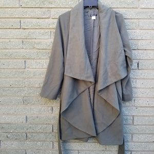 VENUS open front green trench coat Med belted